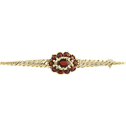 Garnet Brooch - 14k Yellow Gold January Birthstone Floral Design Genuine 1.85ctw