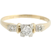 Vintage / Retro Diamond Engagement Ring - 14k Yellow & White Gold Genuine .27ctw