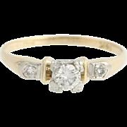 Vintage / Retro Diamond Engagement Ring - 14k Yellow & White Gold Genuine .27ctw