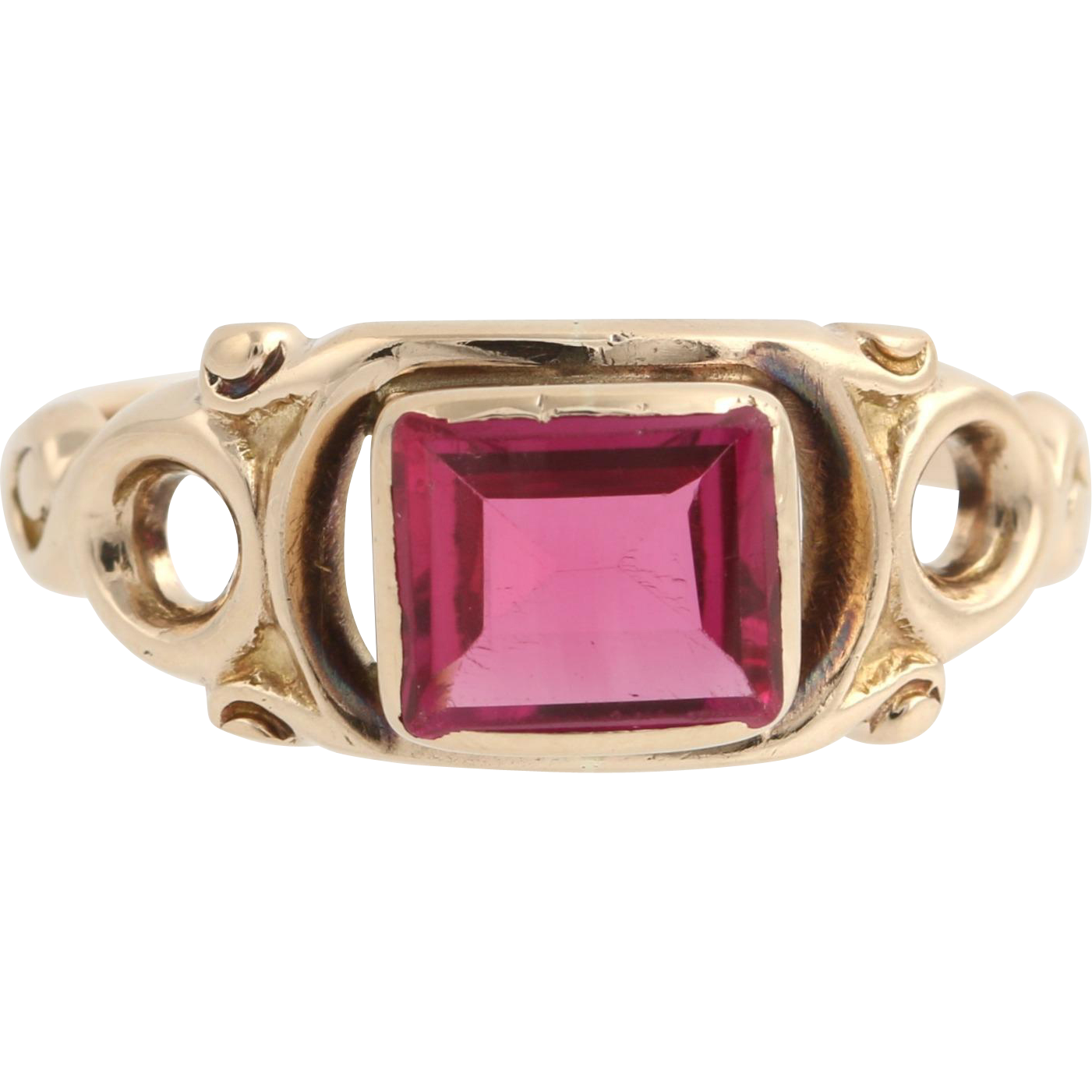 Art Deco Synthetic Red Spinel Ring - 10k Yellow Gold Solitaire Women's Size 8