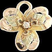 Vintage Black Hills Gold Brooch - 14k Yellow, Rose, & Green Gold Diamond .07ctw