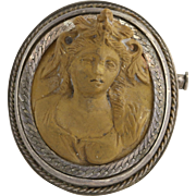 Victorian Carved Lava Cameo Brooch / Pendant - Sterling Silver Convertible