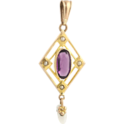 Art Deco Simulated Amethyst & Pearl Pendant - 10k Yellow Gold February Gift