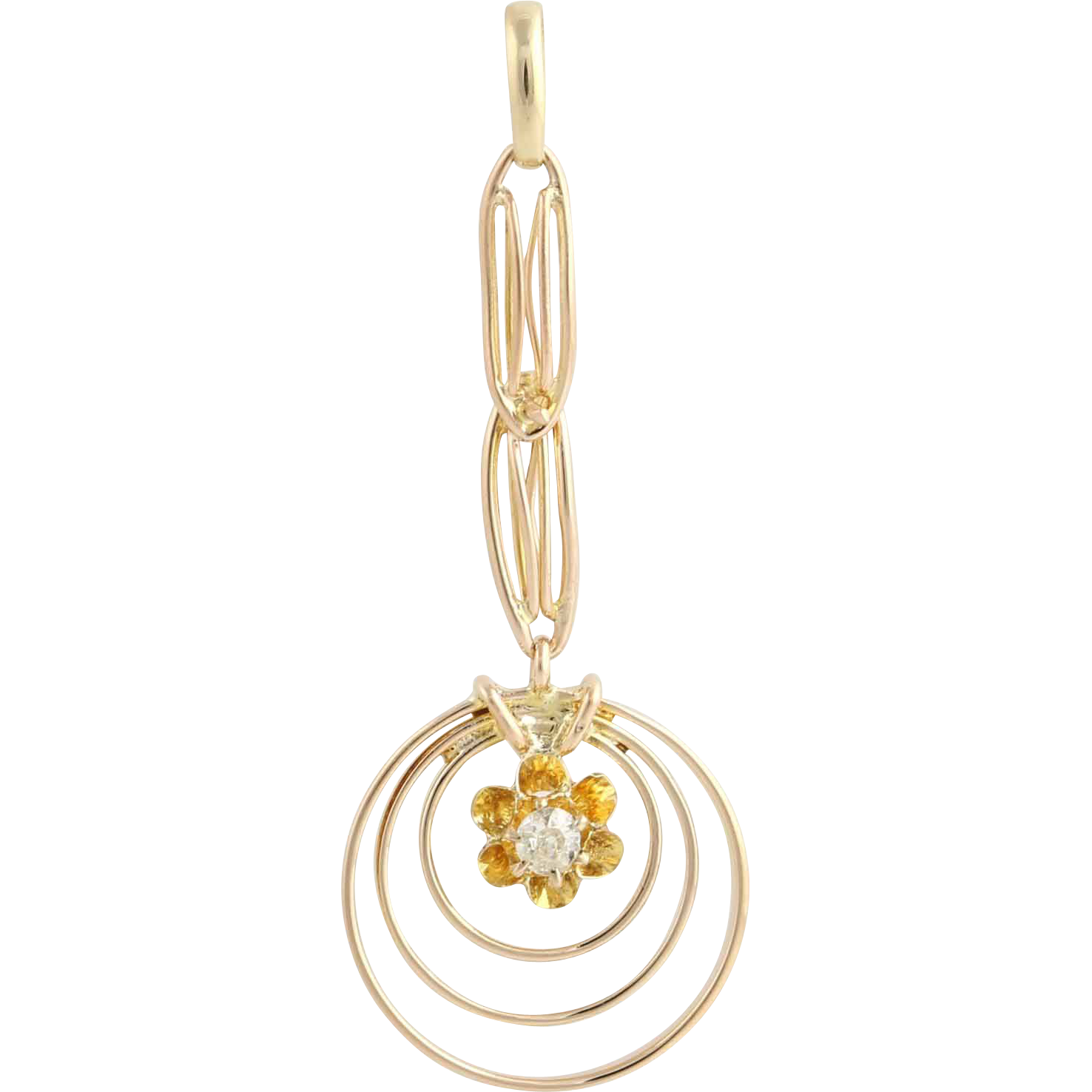 Art Deco Diamond Pendant - 10k Yellow Gold Polished Fine Estate Genuine .03ctw
