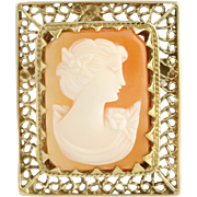 Carved Shell Cameo Brooch / Pendant - 10k Yellow Gold Convertible Pin Peach