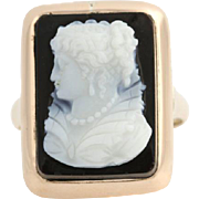 Edwardian Carved Hard Stone Cameo Ring - 12k Yellow Gold Women's Size 10 3/4