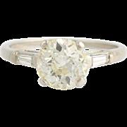 Art Deco Diamond Engagement Ring - 900 Platinum European Cut Genuine 1.85ctw