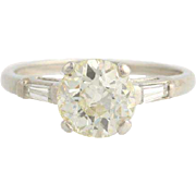 Art Deco Diamond Engagement Ring - 900 Platinum European Cut Genuine 1.85ctw