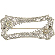 Art Deco Diamond Brooch - 14k White Gold European Cut Women's Genuine .08ctw