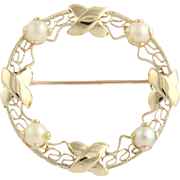 Cultured Pearl Brooch - 10k Yellow Gold Circle Open Cut Fine Estate June Gift