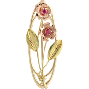Vintage Floral Brooch - 10k Yellow, Rose, & Green Gold Synthetic Rubies .40ctw