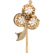 Victorian Rose Cut Diamond Stickpin - 14k Yellow Gold Antique Collectible