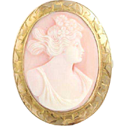 Vintage Carved Pink Shell Cameo Brooch - 12k Yellow Gold Women's Fine Estate