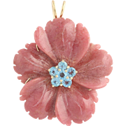 Topaz & Carved Rhodonite Floral Brooch / Pendant - 14k Yellow Gold Fine .60ctw