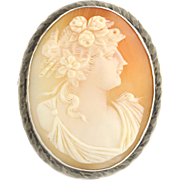 Vintage Carved Shell Cameo Brooch - Sterling Silver Women's Fine Estate