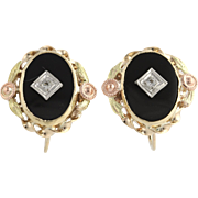 Onyx & White Sapphire Earrings-10k Yellow, White, Rose, & Green Gold Fine .08ctw