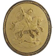 Victorian Carved Lava Cameo Brooch - 15k Yellow Gold St. George & the Dragon