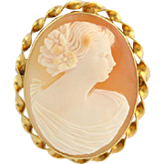 Vintage Carved Shell Cameo Brooch / Pendant - 10k Yellow Gold Pin Convertible