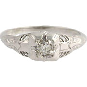 Art Deco Diamond Solitaire Engagement Ring - 18k White Gold 5 3/4 Genuine .12ctw