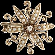 Edwardian Diamond & Seed Pearl Brooch - 10k Yellow Gold Convertible Fine .04ctw