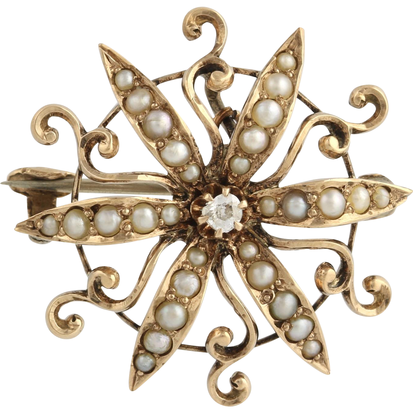 Edwardian Diamond & Seed Pearl Brooch - 10k Yellow Gold Convertible Fine .04ctw