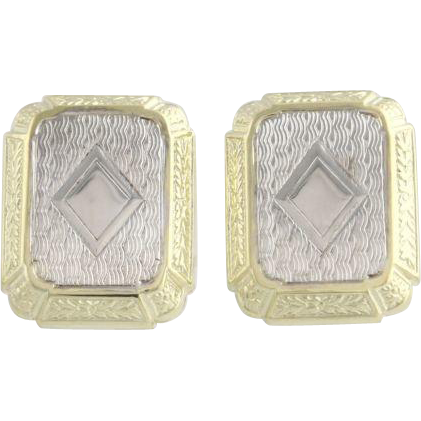 Converted Vintage Cuff Link Earrings - 14k Yellow & White Gold Art Deco Pierced