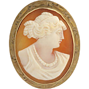Vintage Craved Shell Cameo Brooch / Pendant - 10k Yellow Gold Convertible