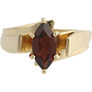 Garnet Solitaire Cocktail Ring- 10k Yellow Gold January Polished Genuine 1.25ctw