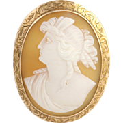 Art Deco Carved Shell Cameo Brooch / Pendant - 10k Yellow Gold Fine Detail
