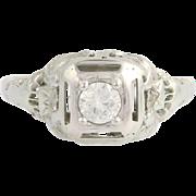 Art Deco Diamond Engagement Ring - 18k White Gold European Cut Genuine .24ctw