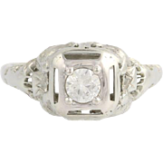 Art Deco Diamond Engagement Ring - 18k White Gold European Cut Genuine .24ctw