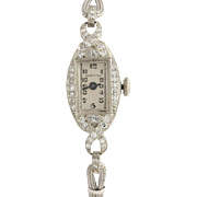 Art Deco Diamond Women's Watch - Platinum Vintage Converted to Quartz .52ctw