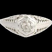 Art Deco Diamond Engagement Ring - 18k White Gold Solitaire 4 1/2 Genuine .21ctw