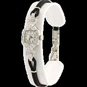 Bulova Vintage Diamant Montre-bracelet Femmes 17.8cm 900 Platine Entretenu