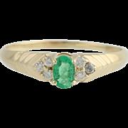 Emerald & Diamond Ring - 14k Yellow Gold May Birthstone 11 1/2 Genuine .57ctw