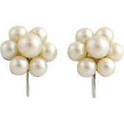 Cultured Pearl Cluster Earrings- 14k White Gold Stud Style June Gift Non-Pierced