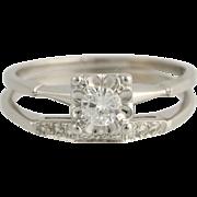 Vintage Diamond Engagement Ring & Wedding Band Set - 14k White Gold .51ctw Unique Engagement Ring