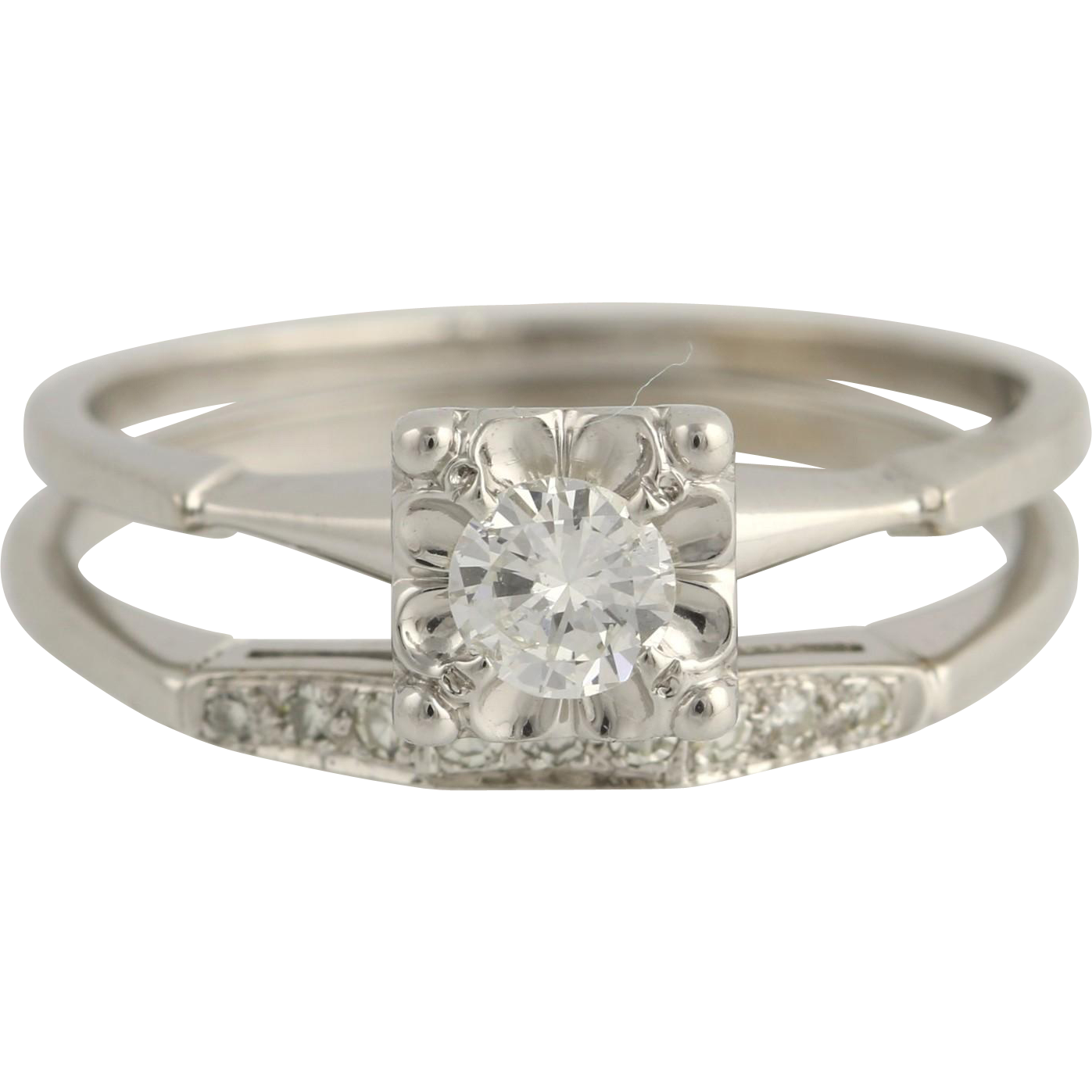 Vintage Diamond Engagement Ring & Wedding Band Set - 14k White Gold .51ctw Unique Engagement Ring