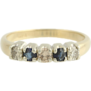Diamond & Sapphire Ring - 14k Yellow & White Gold Wedding Anniversary .65ctw