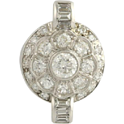 Vintage Diamond Pendant - 14k White Gold Round Flower Natural Women's 1.30ctw