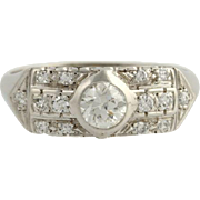 Art Deco Diamond Cocktail Ring - 14k White Gold Wedding 9 1/2 Genuine .75ctw