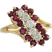 Ruby & Diamond Cocktail Bypass Ring - 14k Yellow & White Gold Genuine 2.00ctw