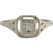 Engagement Ring Vintage-Style Cocktail Ring - 10k White Gold Diamond Accented 6 Genuine .03ctw Unique Engagement Ring