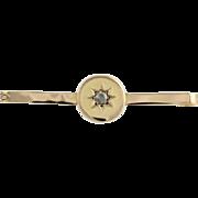 Victorian Diamond Brooch Pin - 9k Yellow Gold Rose Cut Antique Genuine .10ctw
