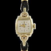 Vintage Benrus Women's Wristwatch - 14k Yellow Gold Hand-Winding Black Band