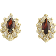 Garnet & Cubic Zirconia Earrings - 14k Yellow Gold January Fashion CZ Pierced