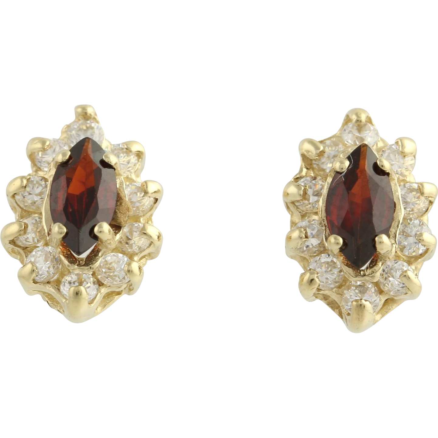Garnet & Cubic Zirconia Earrings - 14k Yellow Gold January Fashion CZ Pierced