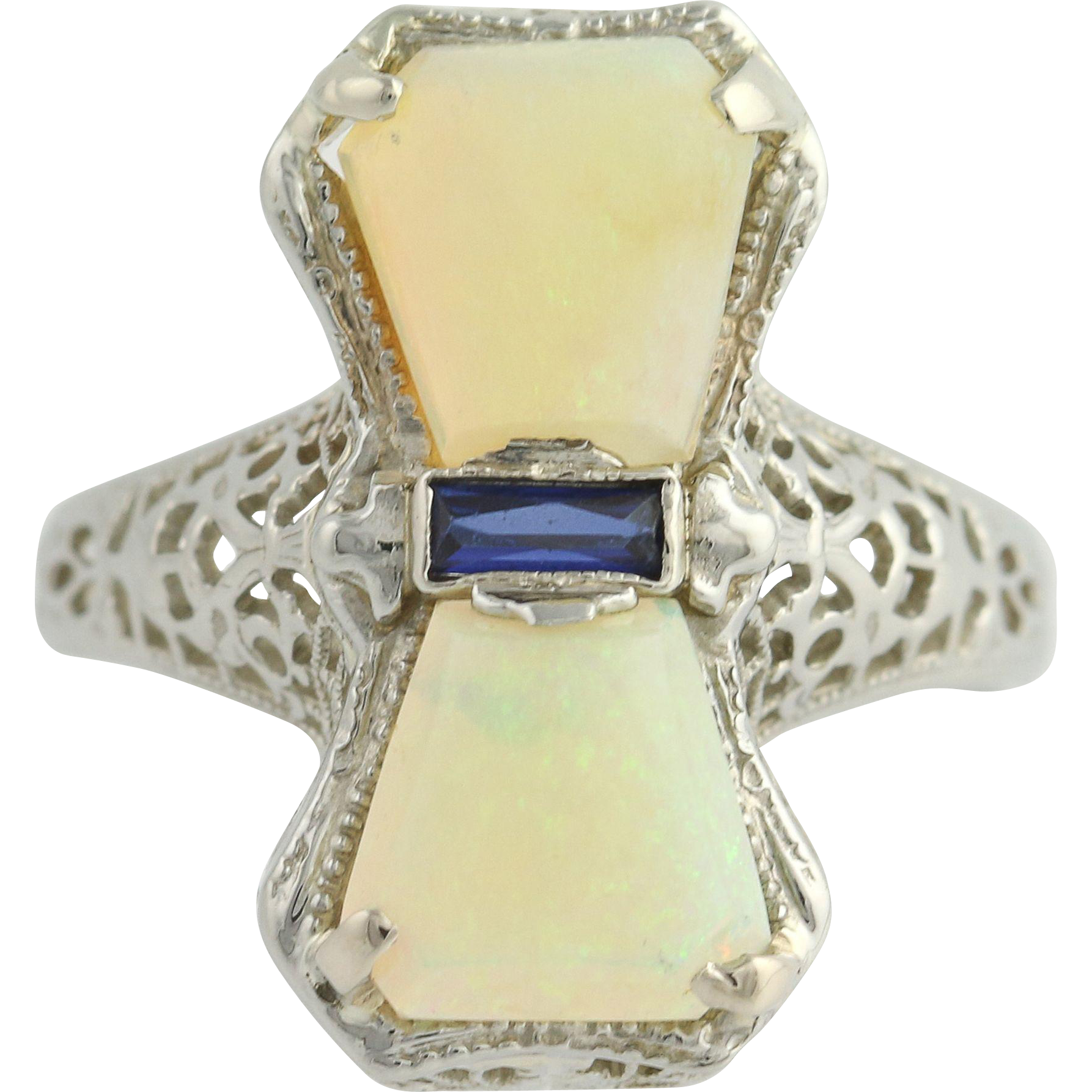Art Deco Opal & Synthetic Sapphire Ring - 14k White Gold 4 3/4 - 5 Fine .12ctw