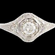Art Deco Diamond Engagement Ring - 18k White Gold Size 6 1/2 Genuine .42ctw