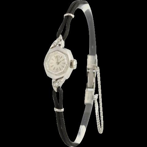 Vintage Longines Women's Watch - 14k White Gold Natural Diamonds .04ctw c.1967